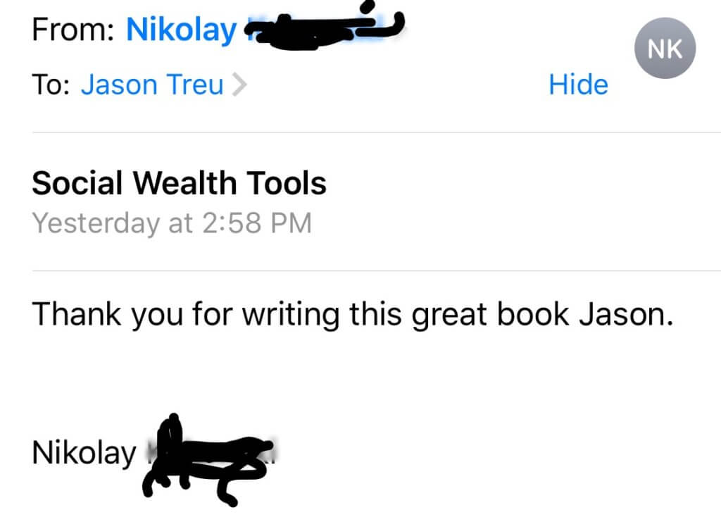 Question from Amazon on my book Social Wealth